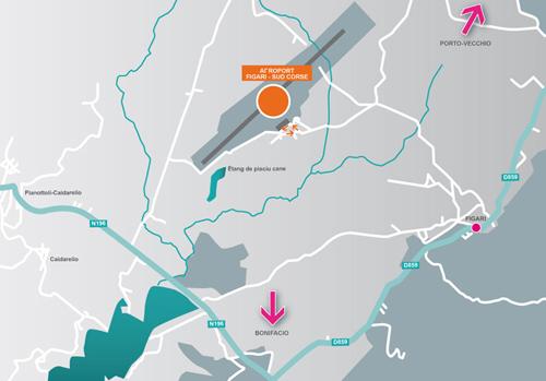 Plan d'accès Aéroports Figari - Sud Corse