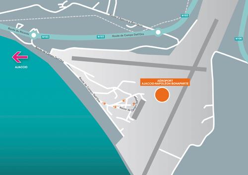 Plan d'accès Aéroports Napoléon Bonaparte Ajaccio